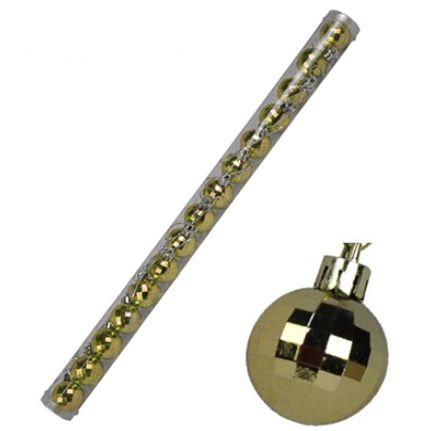 Bola Arvore Natal 3 cm Tubo 15 Bolas Facetada Dourada