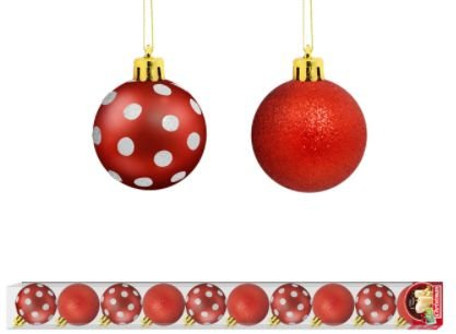 Bola Arvore Natal 5 Cm Tubo 10 Bolas Poa Color