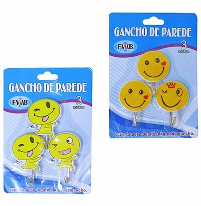 Kit 5 blister Ganchos P/ Parede Emotions New
