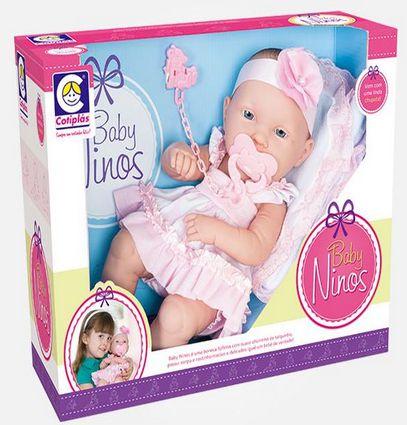Boneca Baby Ninos 37cm Vestido Bico New