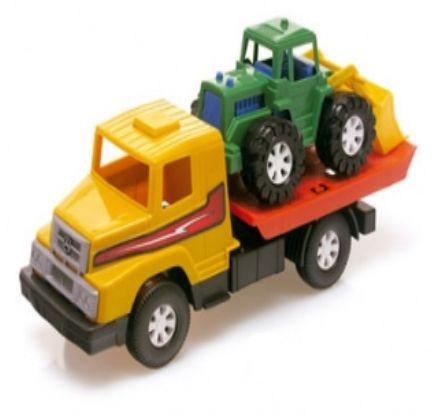 Caminhão Reboque C/ Trator 32 Cm Carrinho Brinquedo