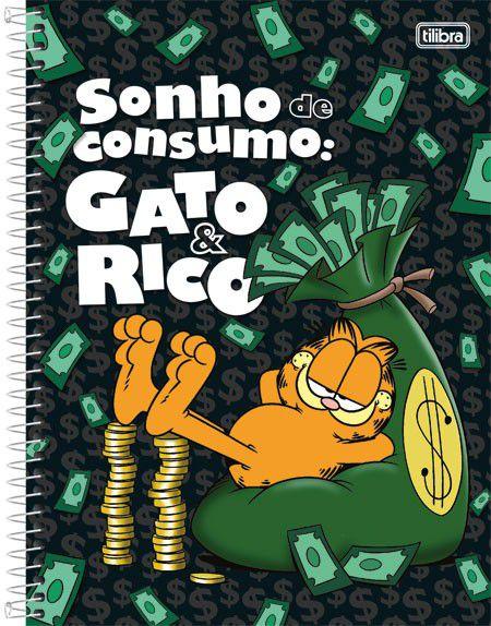 Caderno Universitário Garfield 1  10x1 -  200 fls. New
