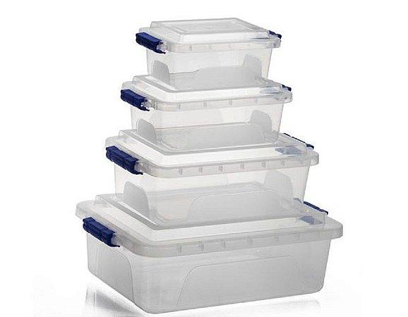 Kit c/ 4 Caixa Organizadora Trava Fácil 1,5L 2,5L 5L e 10L