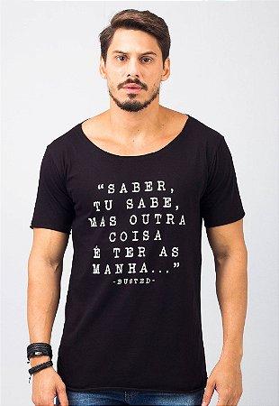 Camiseta Gola Canoa Preta Saber, tu Sabe