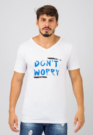 Camiseta Gola V Branca Don't Worry