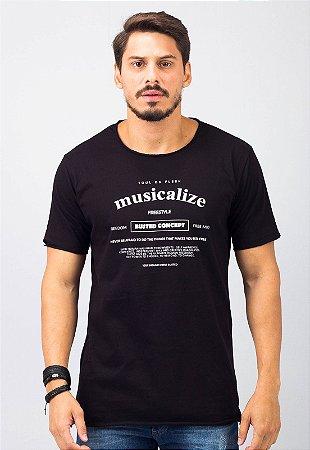 Camiseta Gola Redonda a Fio Preta Musicalize
