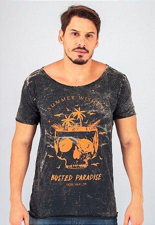 Camiseta Preta Gola Canoa Marmorizada Dark Paradise