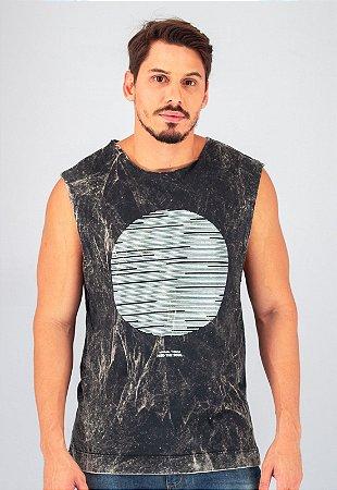 Camiseta Regata Machão Preta Marmorizada Minimal Things