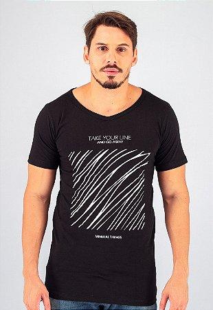 Camiseta Gola V Preta Square Lines