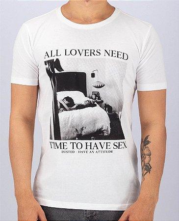 Camiseta Gola Careca Branca Time to Have Sex