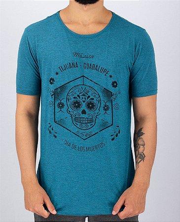 Camiseta Gola Canoa Azul Dia de Los Muertos