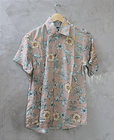 Camisa de Botão Nude Floral