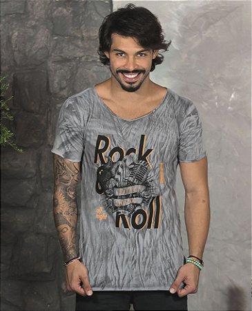 Camiseta Gola Canoa Cinza Rock&Roll