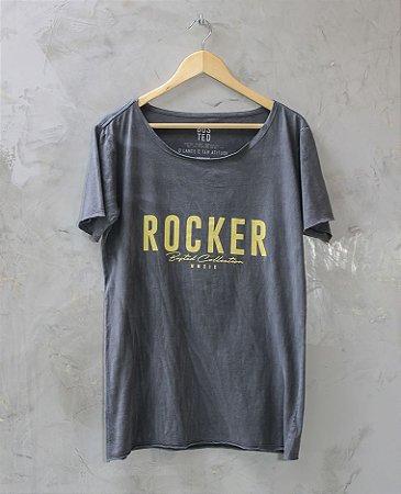 Camiseta Gola Canoa Azul Marinho Rocker