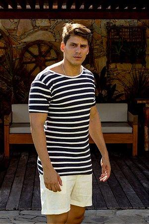 Camiseta Gola Canoa Marinho Listras Tricô