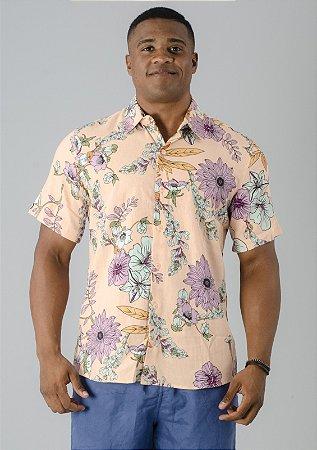 Camisa de Botão Salmão Flores Rosa