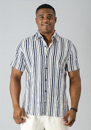 Camisa de Botão de Linho Listrado Azul Marinho