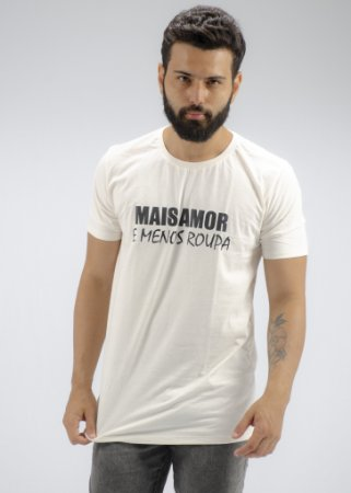 Camiseta Gola Tradicional Linho Off White Mais Amor