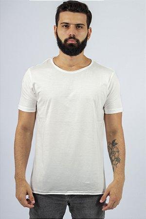 Camiseta Gola Redonda a Fio Branca Básica