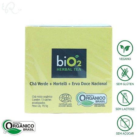 Chá Verde Orgânico com Hortelã e Erva Doce 13 sachês - biO2 Organic