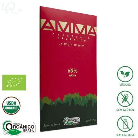 Chocolate Amma Orgânico 60% Cacau 80g - Amma Chocolate