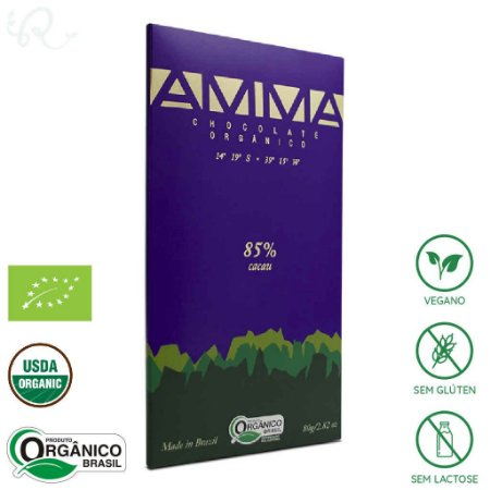 Chocolate Amma Orgânico 85% Cacau 80g - Amma Chocolate