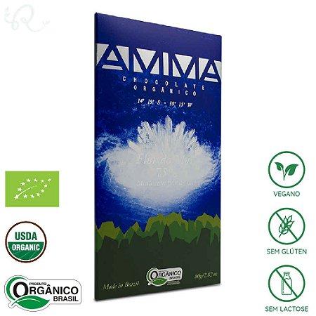 Chocolate Orgânico com Flor de Sal 75% Flor do Mar 80g - Amma Chocolate