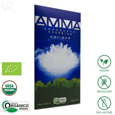 Chocolate Amma Orgânico Flor do Mar 75% Cacau 80g - Amma Chocolate