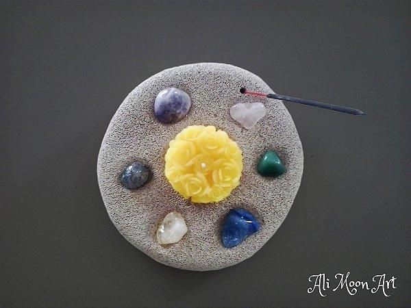 Castiçal com Pedras Especiais e Incensário