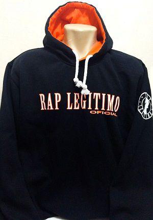 Moletom Rap Legítimo Oficial, preto e laranja