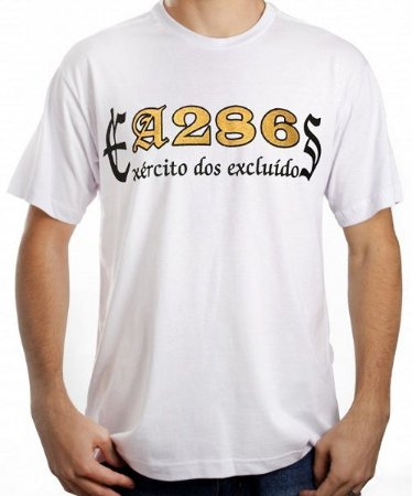 Camiseta A286, Exército dos Excluídos, branca e dourada