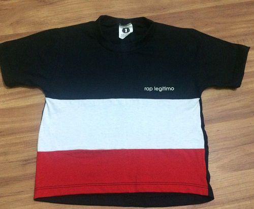 Camiseta Rap Legitimo, preta, branca e vermelha, infantil
