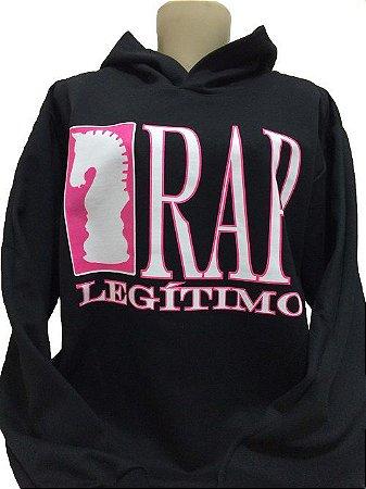 Moletom Rap Legítimo, preto e rosa