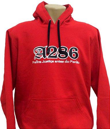Moletom A286, Prefira Justiça Antes do Perdão, vermelho e preto