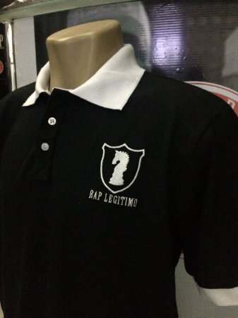 Camisa Polo Rap Legítimo Piquet Escudo - Preto e Branco