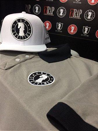 Kit Camisa polo preta e cinza + Boné Rap Legítimo