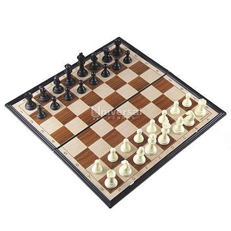 Jogo De Xadrez Magnético Tabuleiro Dobrável Plástico 36x36cm