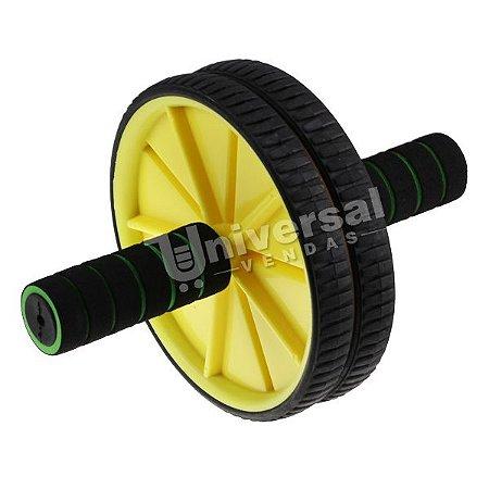 Roda Para Exercícios Abdominal Lombar Exercise Wheel +apoio Amarela