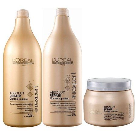 L'Oréal Absolut Repair Shampoo 1,5l + Condicionador 1,5l + Máscara 500ml