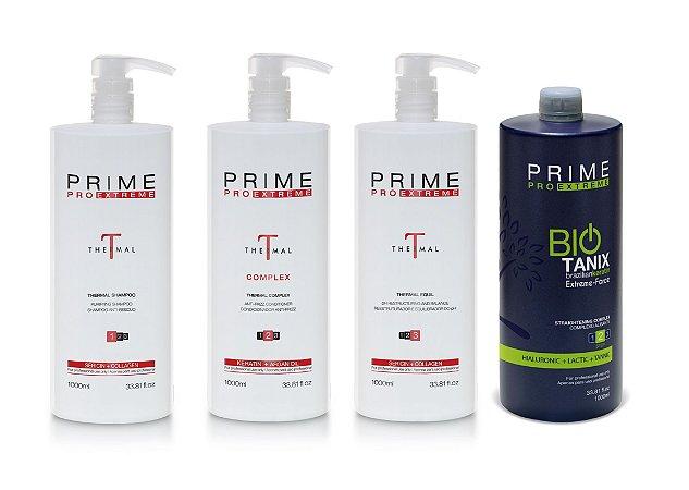 Escova Progressiva Prime Pro Extreme Kit Combo Bio Thermal - 1000ml - Thermal Step 1, 2, 3 + Step 2 Bio Tanix