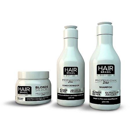 Kit Matizador Blonde Silver - Shampoo + Condicionador + Máscara - Hair Brasil