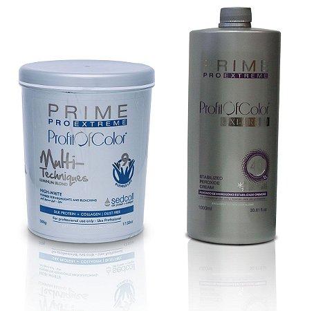 Pó Descolorante Profit of Color Multi-Techniques Luminum Blond 9 tons 500g + OX 40 Volumes 900ml - Prime Pro Extreme