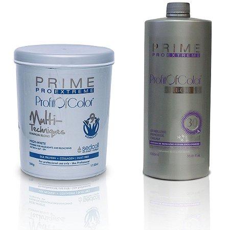 Pó Descolorante Profit of Color Multi-Techniques Luminum Blond 9 tons 500g + OX 30 Volumes 900ml - Prime Pro Extreme