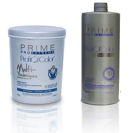Pó Descolorante Profit of Color Multi-Techniques Luminum Blond 9 tons 500g + OX 20 Volumes 900ml - Prime Pro Extreme