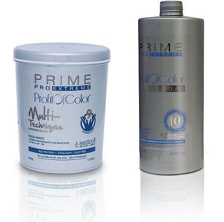 Pó Descolorante Profit of Color Multi-Techniques Luminum Blond 9 tons 500g + OX 10 Volumes 900ml - Prime Pro Extreme