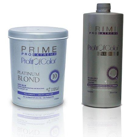 Pó Descolorante Profit of Color Platinum Blond 10 tons 500g + OX 40 Volumes 900ml - Prime Pro Extreme