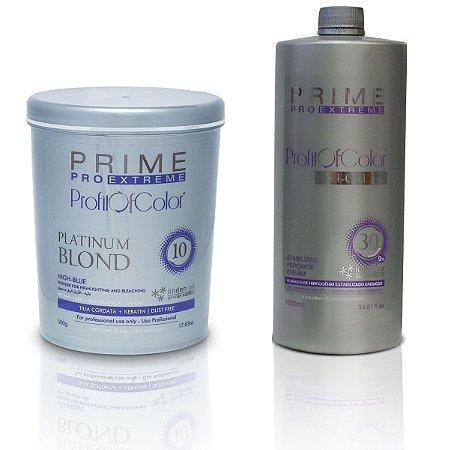 Pó Descolorante Profit of Color Platinum Blond 10 tons 500g + OX 30 Volumes 900ml - Prime Pro Extreme