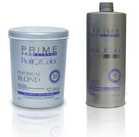 Pó Descolorante Profit of Color Platinum Blond 10 tons 500g + OX 20 Volumes 900ml - Prime Pro Extreme
