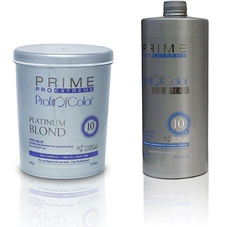 Pó Descolorante Profit of Color Platinum Blond 10 tons 500g + OX 10 Volumes 900ml - Prime Pro Extreme
