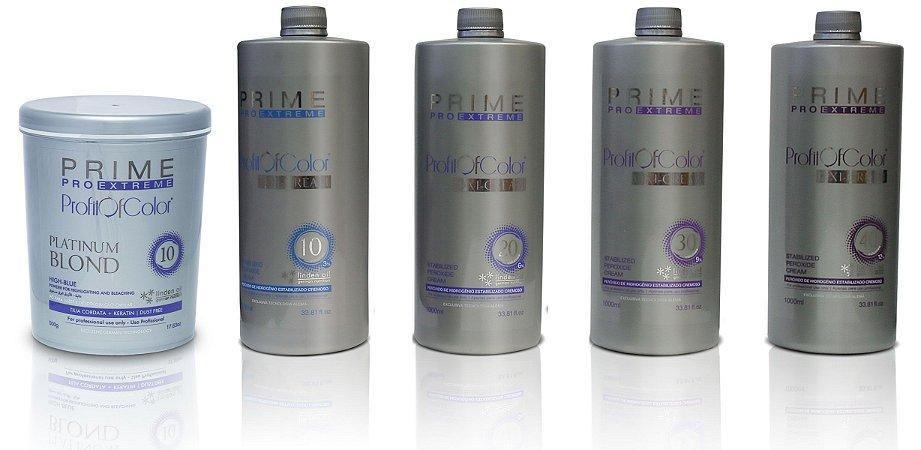 Pó Descolorante Profit of Color Platinum Blond 10 tons 500g + OX 10, 20, 30, 40 Volumes 900ml - Prime Pro Extreme